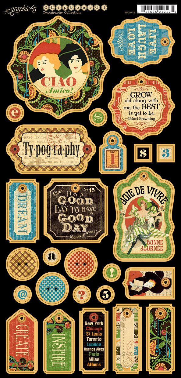typography chipboard by graphic 45 for scrapbooks cards crafting