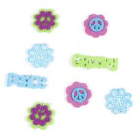 Darice Foamies Mixed Media Stickers - Felt - Peace Sign Groovy Flowers - 80 pieces