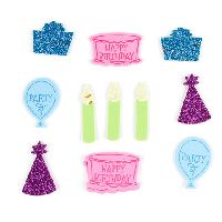 Darice Foamies Mixed Media Stickers - Confetti - Birthday Cake Theme - 85 pieces