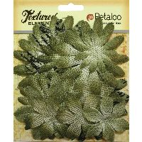 Petaloo Textured Elements Burlap Daisy Layers - Antique Green