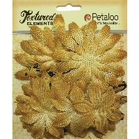 Petaloo Textured Elements Burlap Daisy Layers - Antique Gold