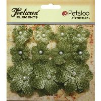 Petaloo Textured Elements Burlap Mini Flowers  x 11 - Antique Green