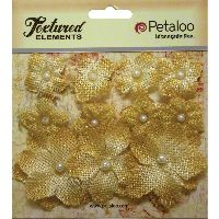 Petaloo Textured Elements Burlap Mini Flowers  x 11 - Antique Gold