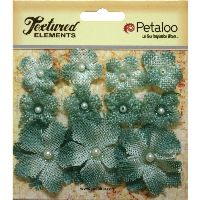 Petaloo Textured Elements Burlap Mini Flowers  x 11 - Antique Blue