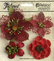 Petaloo Mixed Textured Blossoms x 4 - Red