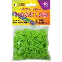 Pepperell Stretch Band Bracelet Loops 500/pkg-neon Green