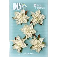 Petaloo DIY-Burlap Poinsettias x 5 - Ivory