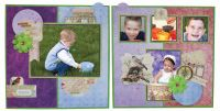 Bo Bunny Secret Garden 4 page Scrapbook Layout Kit