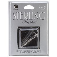 Cousin Sterling Elegance Genuine 925 Silver Beads & Findings-flat End Head Pins 35mm 10/pkg