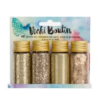 American Crafts Vicki Boutin Mixed Media - Mixology - Mica Flakes, Glitter, Glass Glitter and Embossing Powder - Gold - (4 Piece)