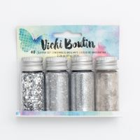 American Crafts Vicki Boutin Mixed Media - Mixology - Mica Flakes, Glitter, Glass Glitter and Embossing Powder - Platinum - (4 Piece)