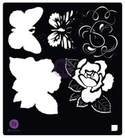 Prima Marketing 6x6 Stencil: Tales of you & Me Flowers & Butterfly
