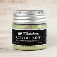 Prima Marketing Art Alchemy: Acrylic Paint-Opal Magic Green-Gold 1.7oz