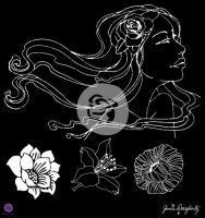 Prima Marketing Jamie Dougherty Bloom Girl 12x12 Stencil - Gardenia