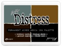 Tim Holtz Distress Mixed Media Palette (#3 Ink Pad Contains Hickory Smoke, Vintage Photo, Ground Espresso & Black Soot Archival Inks)