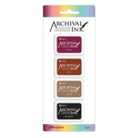 Ranger Archival Mini Ink Pads Kit 2 (Includes Plum, Sepia, Coffee & Jet Black)