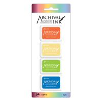 Ranger Archival Mini Ink Pads Kit 3 (Includes Bright Tangelo, Chrome Yellow, Vivid Chartreuse & Manganese Blue)
