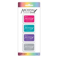 Ranger Archival Mini Ink Pads Kit 4 (Includes Vibrant Fuchsia, Paradise Teal, Majestic Violet & Shadow Grey)