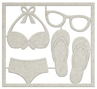 FabScraps Summer Loving Die-Cut Gray Chipboard Shape - Beachwear