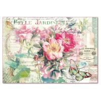 Stamperia Decoupage Rice Paper 48x33 Rose and butterfly