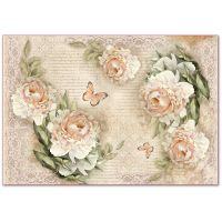 Stamperia Decoupage Rice Paper 48x33 Peony and laces