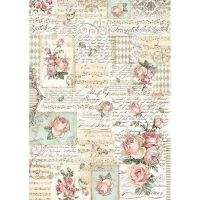 Stamperia A3 Decoupage Rice Paper packed Roses and manuscripts