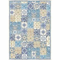 Stamperia A3 Decoupage Rice Paper packed Blue and ocher tile