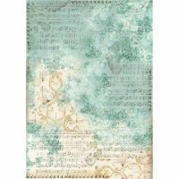 Stamperia A3 Decoupage Rice Paper packed Musica scores with turquoise background