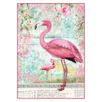 Stamperia A4 Decoupage Rice Paper Packed Pink flamingo