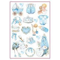 Stamperia A4 Decoupage Rice Paper Packed Baby Boy decorations