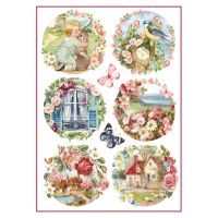 Stamperia A4 Decoupage Rice Paper Packed Floral landscapes