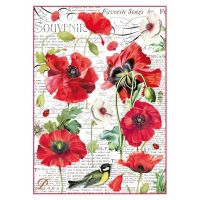 Stamperia A4 Decoupage Rice Paper Packed Botanic poppy