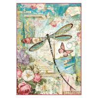 Stamperia A4 Decoupage Rice Paper Packed Wonderland dragonfly