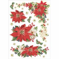 Stamperia A4 Decoupage Rice Paper packed Christmas Poinsettia
