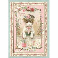 Stamperia A4 Decoupage Rice Paper packed Pink Christmas kitten