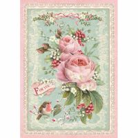 Stamperia A4 Decoupage Rice Paper packed Pink Christmas rose