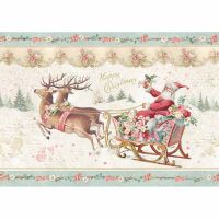 Stamperia A4 Decoupage Rice Paper packed Pink Christmas Santa Claus with sledge