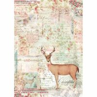 Stamperia A4 Decoupage Rice Paper packed Pink Christmas reindeer