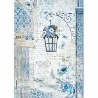 Stamperia A4 Decoupage Rice Paper packed Blue Land lamp