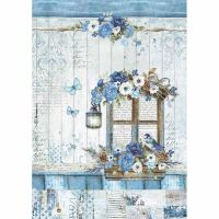 Stamperia A4 Decoupage Rice Paper packed Blue Land  window