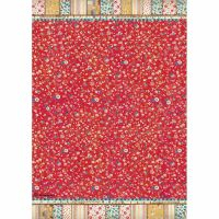 Stamperia A4 Decoupage Rice Paper packed Patchwork texture red background