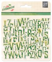 Basic Grey Evergreen Printed Chipboard Alpha