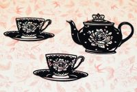 FotoBella Laser Cut Black Flocked Rose Teapot and Teacups