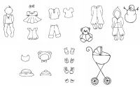 Prima Marketing Julie Nutting Bundle Release 3 Mixed Media Dress Up Doll Stamps (8 Baby Themed Stamp Sets)
