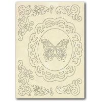 Stamperia Wooden frame f. To A5 Frame. Corners and butterfly