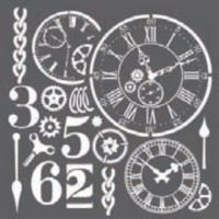 Stamperia Thick stencil 18x18 cm - Watches and numbers