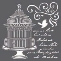 Stamperia Thick stencil 18x18 cm - Little cage with scriptures