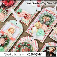 Prima Marketing Frank Garcia Class Kit Peppermint & Co. 2016 Christmas Tag Set Class Kit