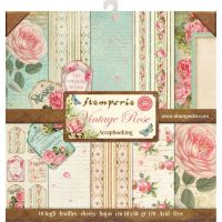 Stamperia 12x12 Paper Pad - Vintage Rose (10 Double Sided Sheets)