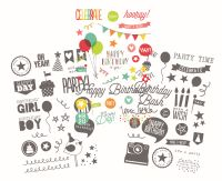 Simple Stories Let's Party Clear Stickers